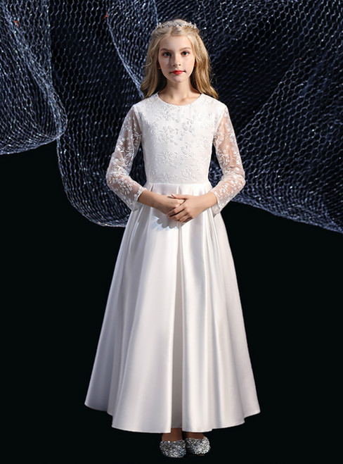 A-Line White Satin Lace Long Sleeve Flower Girl Dress