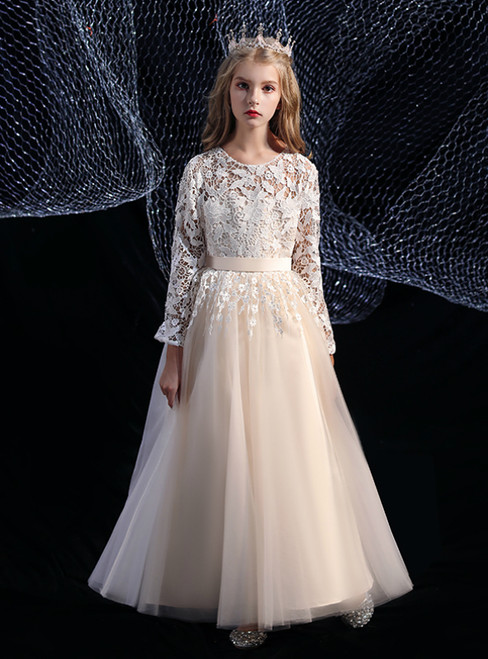 A-Line Cute Champagne Tulle Lace Long Sleeve Flower Girl Dress