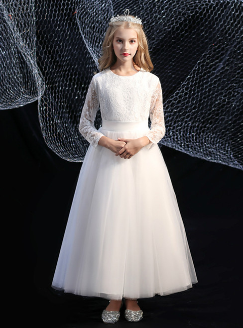 Cute White Tulle Long Sleeve Flower Girl Dress With Sash