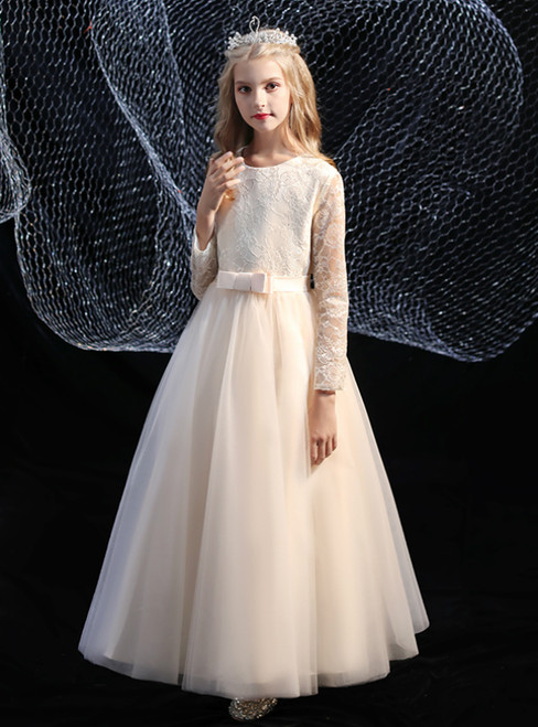 Cheap Champagne Tulle Lace Long Sleeve Flower Girl Dress