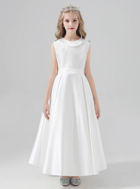 Simple White Satin Sleeveless Flower Girl Dress With Bow