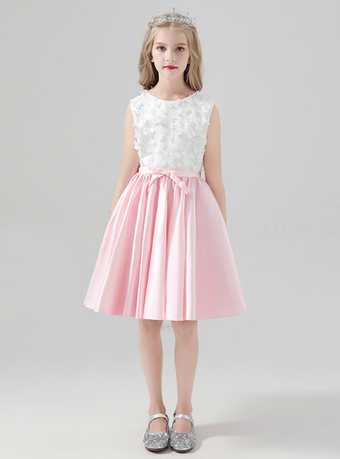 Pink Satin White Appliques Short Flower Girl Dress With Bow