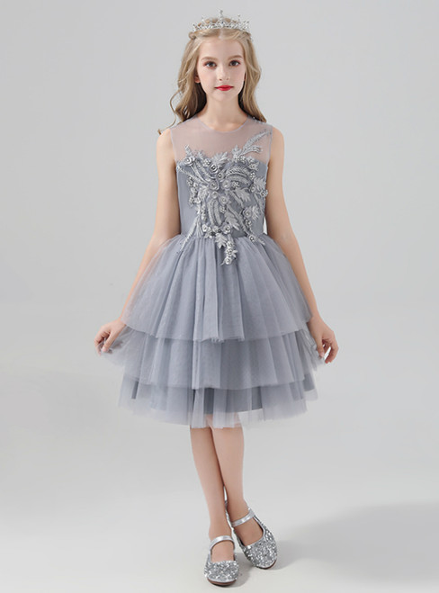 A-Line Gray Tulle Short Appliques Flower Girl Dress