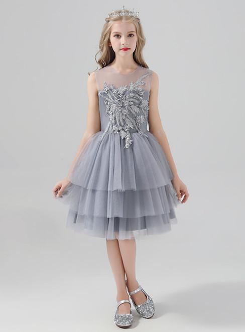 A-Line Gray Tulle Short Appliques Flower Girl Dress