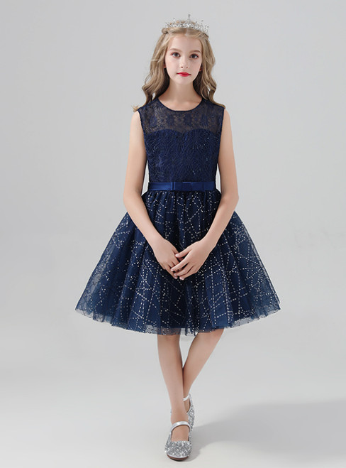 Navy Blue Tulle Sequins Sleeveless Short Flower Girl Dress