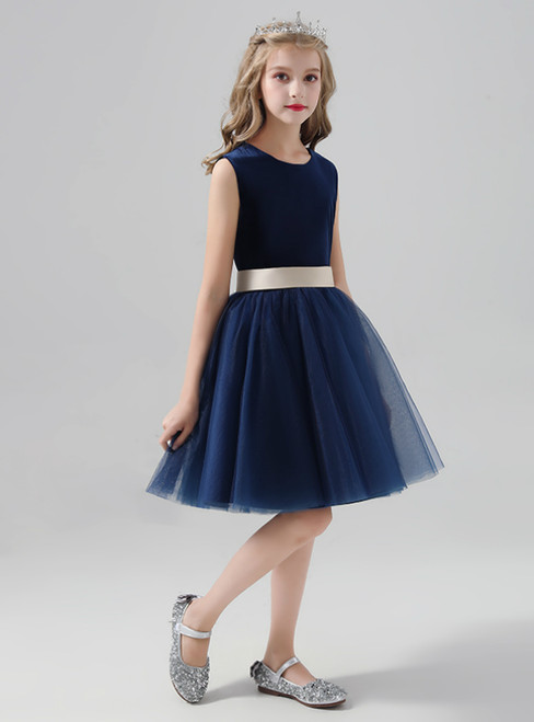 Navy Blue Tulle Short Knee Length Flower Girl Dress