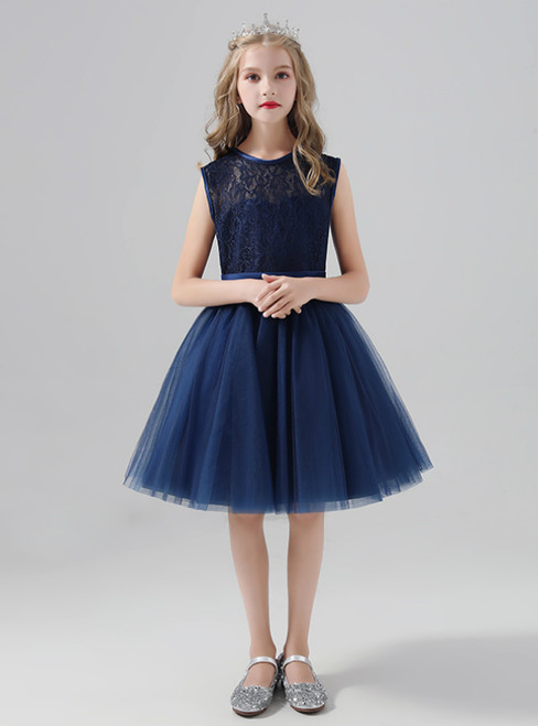 A-Line Navy Blue Tulle Lace Sleeveless Flower Girl Dress