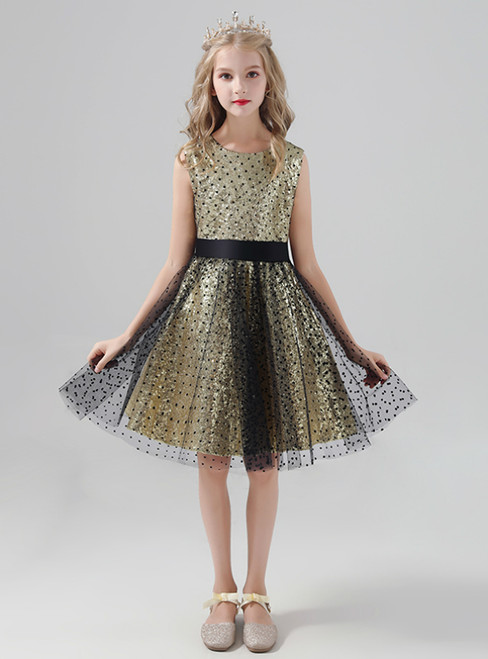 A-Line Gold Sequins Black Tulle Flower Girl Dress With Bow