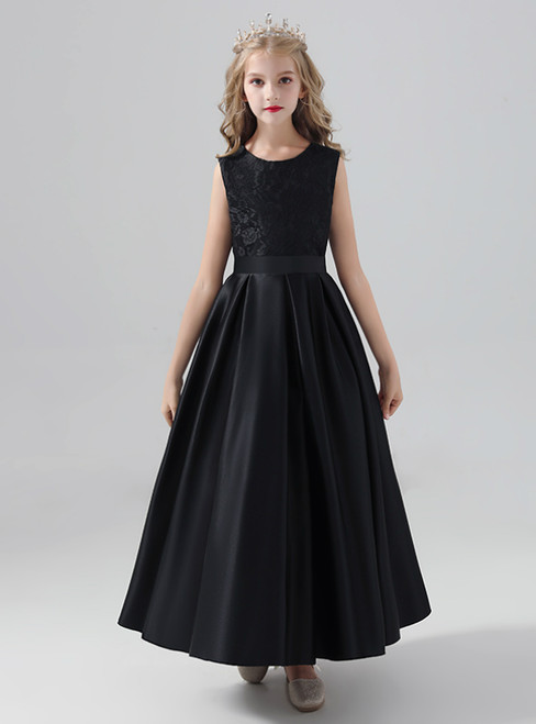 Hot Sale Black Satin Scoop Neck Long Flower Girl Dress