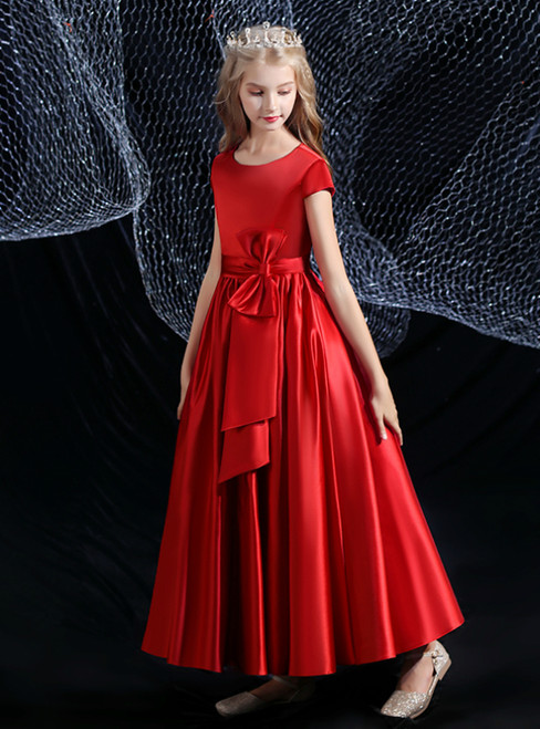 A-Line Burgundy Satin Cap Sleeve Pleats Flower Girl Dress