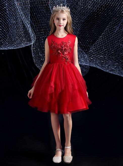 A-Line Burgundy Tulle Appliques Short Flower Girl Dress