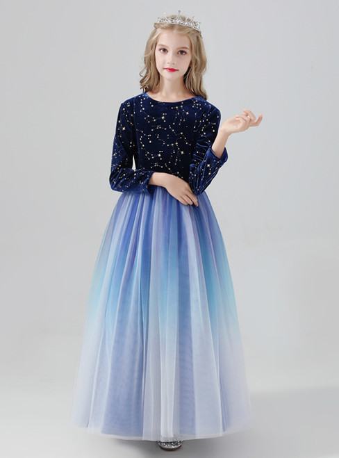 A-Line Blue Tulle Long Sleeve Sequins Flower Girl Dress