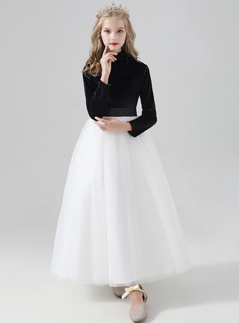 A-Line White Tulle Black Velvet High Neck Long Sleeve Flower Girl Dress