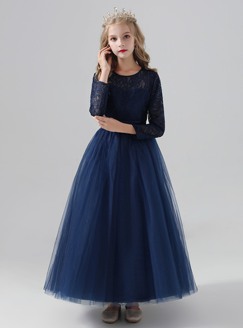 A-Line Navy Blue Tulle Lace Long Sleeve Flower Girl Dress