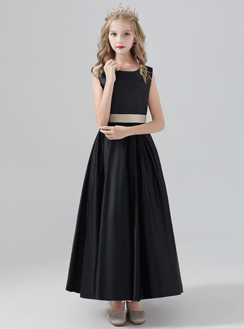 A-Line Black Satin Long Flower Girl Dress With Sash