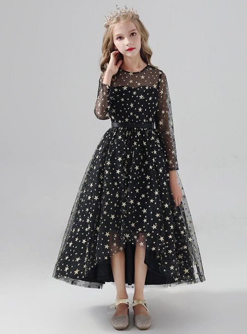 Black Hi Lo Tulle Star Print Long Sleeve Flower Girl Dress