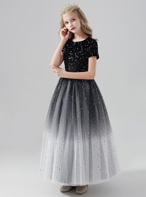 A-Line Black Tulle Stars Sequins Short Sleeve Flower Girl Dress