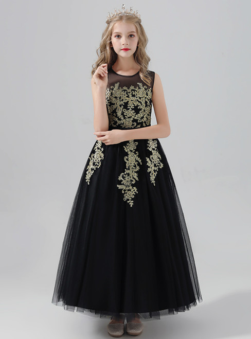 A-Line Black Tulle Gold Appliques Long Flower Girl Dress