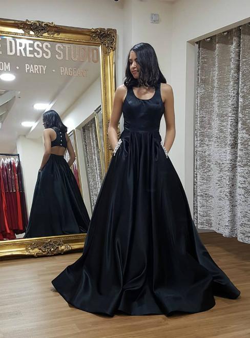 A-Line Black Satin Open Back Prom Dress With Pocket