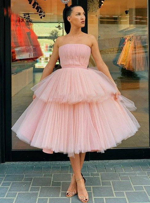 A-Line Pink Tulle Strapless Pleats Homecoming Dress
