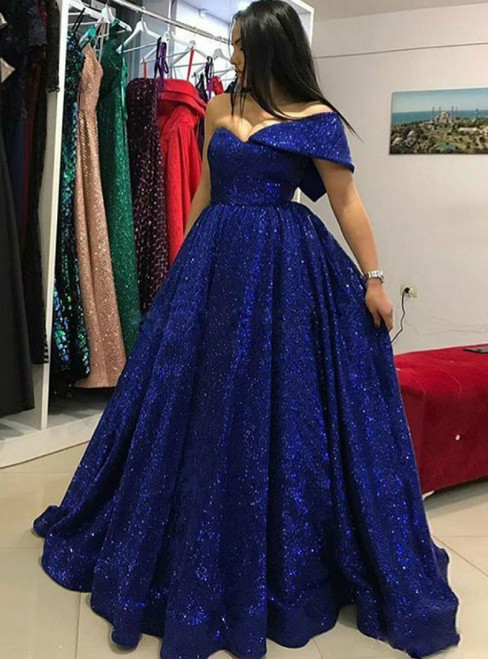 A-Line Blue One Shoulder Sequins Long Prom Dress