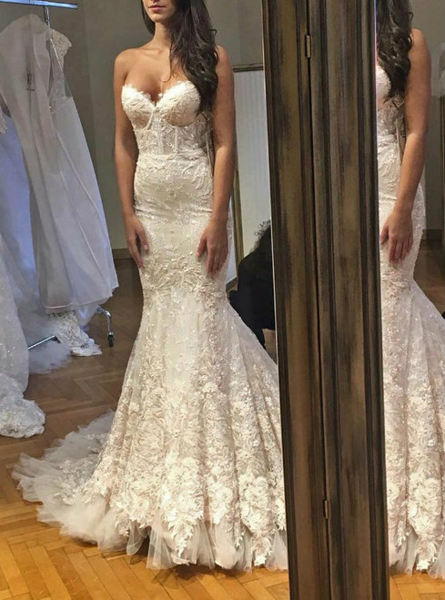 Hot Sale Lace Mermaid Sweetheart Croset Sexy Bridal Dress