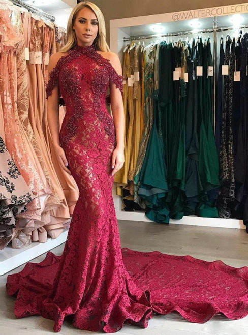Burgundy Mermaid Lace Halter Beading Appliques Prom Dress