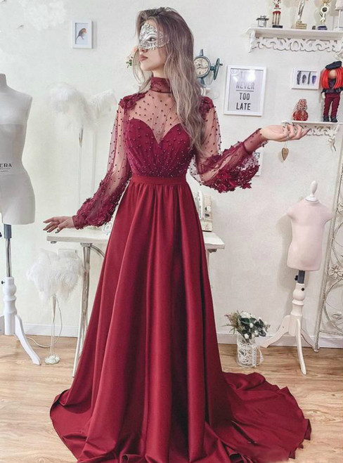 A-Line Burgundy High Neck Long Sleeve Backless Prom Dress