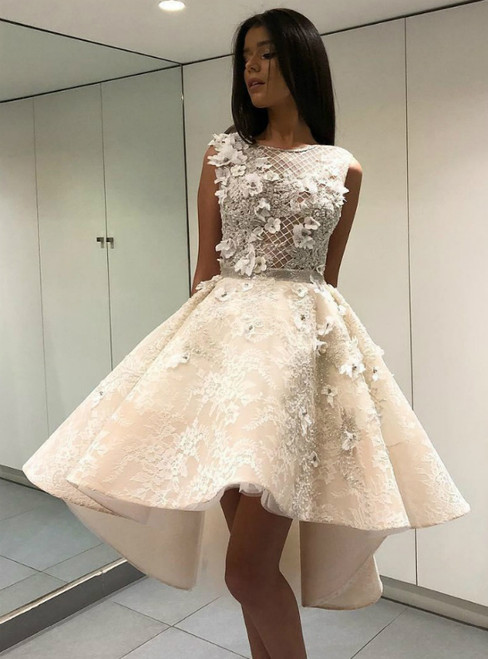 Champagne Hi Lo Tulle Lace Appliques Beading Short Prom Dress