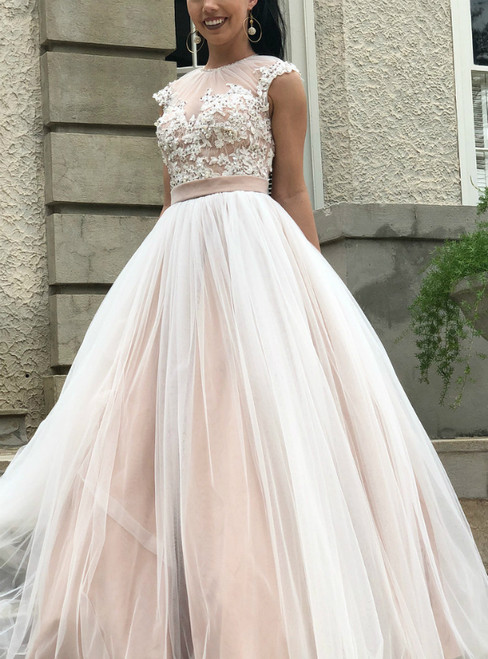 A-Line Champagne Tulle Open Back Appliques Beading Prom Dress