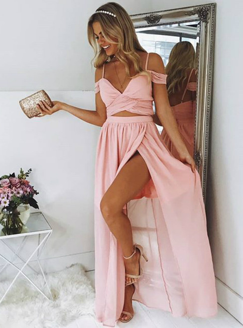 A-Line Pink Chiffon Two Piece Spaghetti Straps Prom Dress