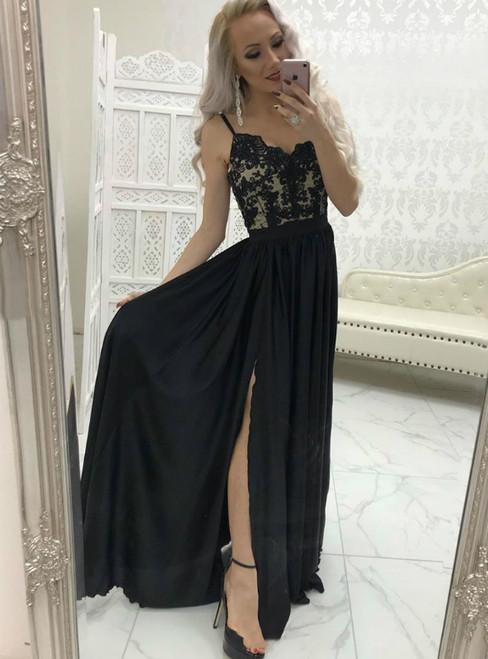 A-Line Black Chiffon Lace Spagehtti Straps Prom Dress With Side Split