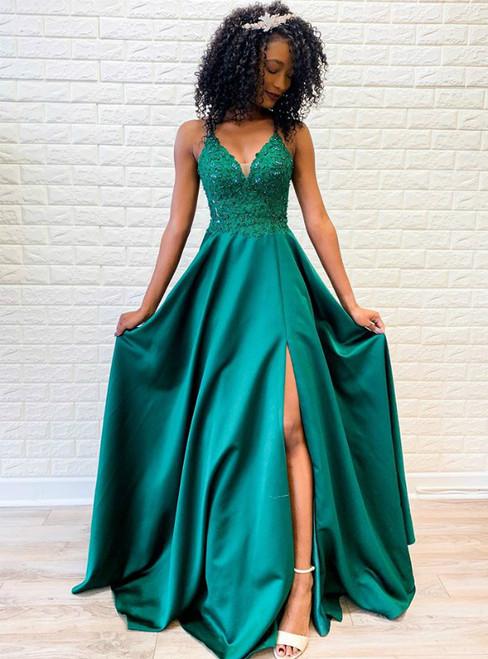 A-Line Green Satin Spagehtti Straps Beading Cross Straps Back Prom Dress