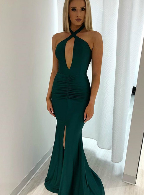 Green Mermaid Satin Halter Backless Long Prom Dress