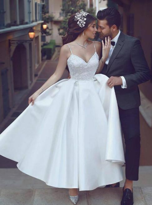 A-Line White Satin Spaghetti Straps Ankle Length Wedding Dress
