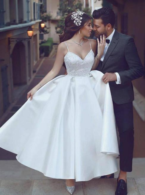 A-Line White Satin Spaghetti Straps Ankle Length Wedding Dress