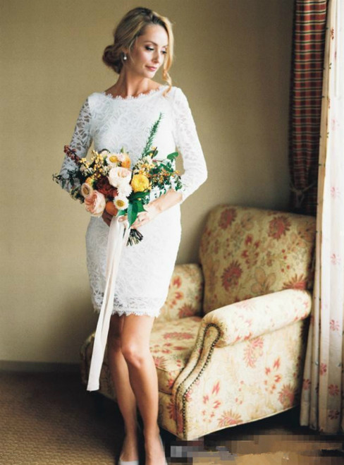 Sheath White Lace 3/4 Sleeve Short Mini Wedding Dress