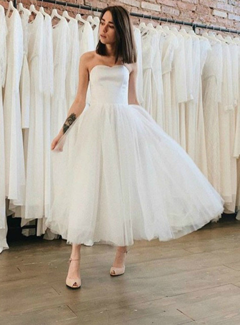 A-Line White Tulle Satin Sweetheart Tea Length Wedding Dress