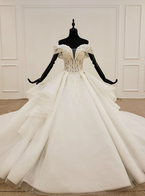 Fashion White Ball Gown Tulle Off the Shoulder Wedding Dress With Beading