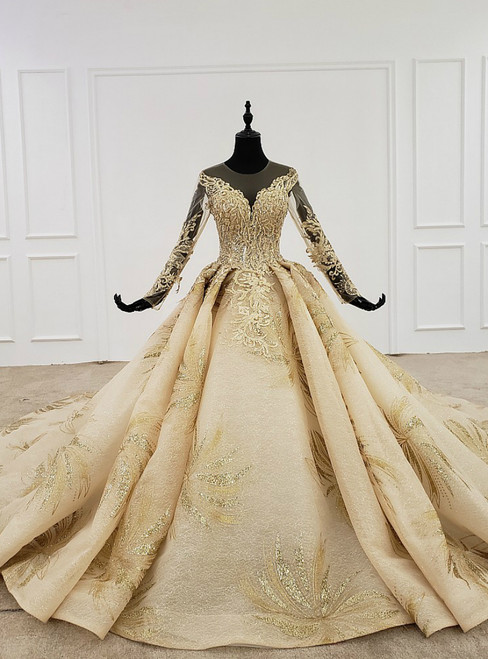 Gold Ball Gown Tulle Appliques Beading Long Backless Wedding Dress