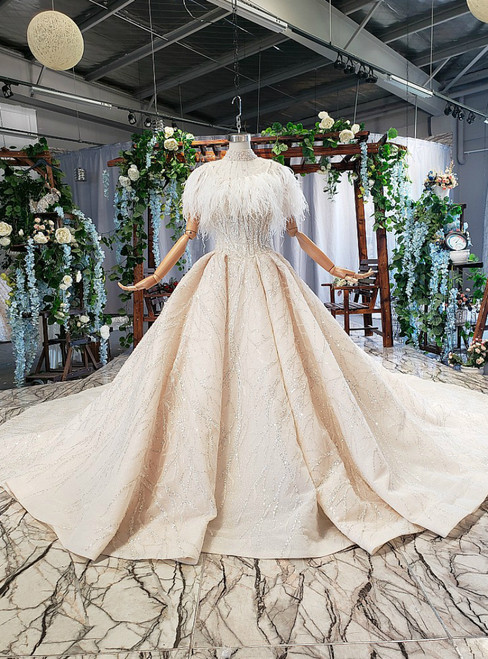 Champagne Ball Gown Tulle Sequins High Neck Beading Wedding Dress With Long Train
