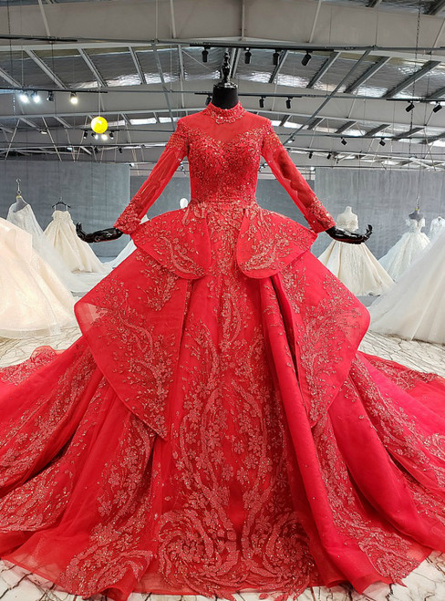 Red Ball Gown Tulle Sequins High Neck Long Sleeve Beading Wedding Dress