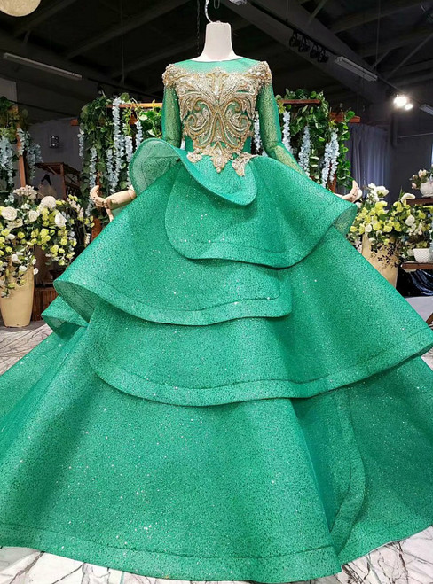 Green Ball Gown Tulle Sequins Backless Beading Wedding Dress