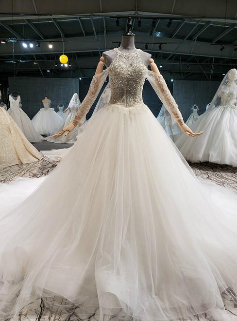 Ivory White Ball Gown Tulle Halter Beading Backless Wedding Dress