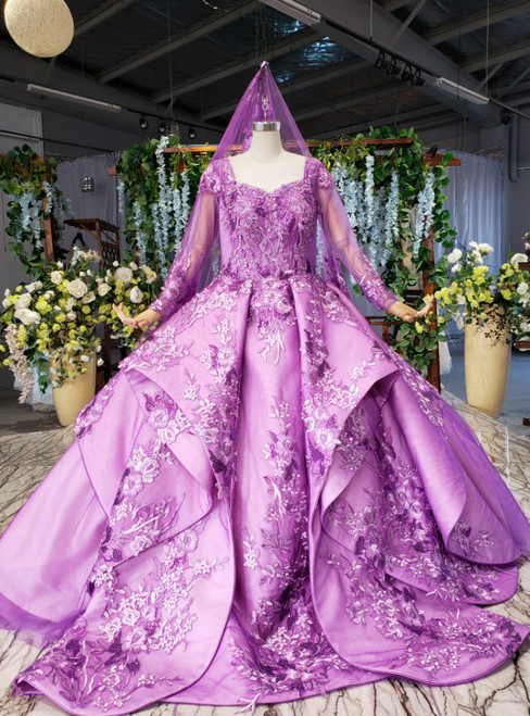 Purple Ball Gown Satin Appliques Square Long Sleeve Beading Wedding Dress