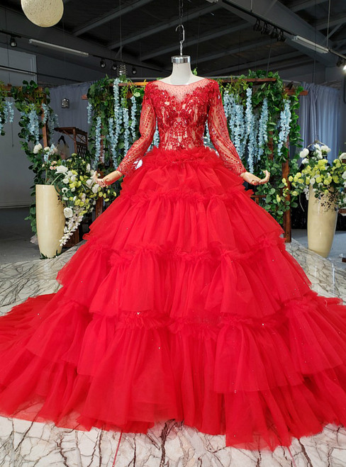 Red Ball Gown Tulle Tiers Long Sleeve Beading Wedding Dress