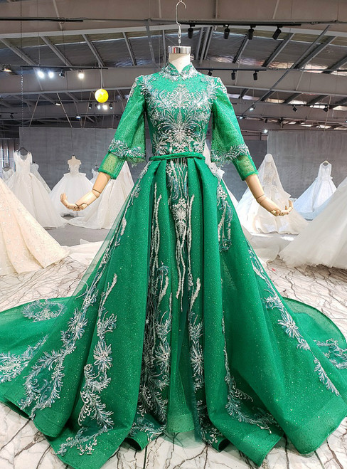 Green Tulle Sequins Long Sleeve Appliques Beading Wedding Dress