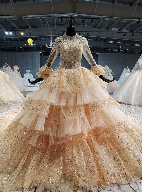 Champagne Gold Tulle Sequins Long Sleeve Beading Wedding Dress