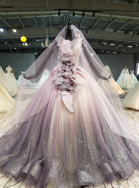 Purple Ball Gown Tulle Sequins Backless Flower Wedding Dress