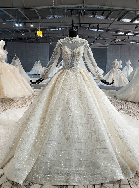 Light Champagne Ball Gown Tulle Sequins Long Sleeve High Neck Wedding Dress